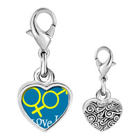 Link Charm Bracelet - 925  sterling silver i love you couple photo heart frame link charm Image.