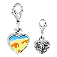 Link Charm Bracelet - 925  sterling silver footprints in the sand photo heart frame link charm Image.