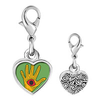 Link Charm Bracelet - 925  sterling silver wooden hand craftwork photo heart frame link charm Image.