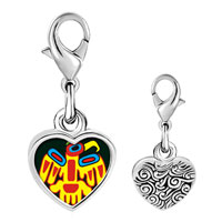 Link Charm Bracelet - 925  sterling silver multicolored artistic bird photo heart frame link charm Image.