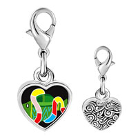 Link Charm Bracelet - 925  sterling silver multicolored snake around fish photo heart frame link charm Image.