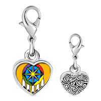 Link Charm Bracelet - 925  sterling silver native american feather hat photo heart frame link charm Image.