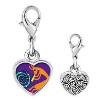Link Charm Bracelet - 925  sterling silver kokopelli dance photo heart frame link charm Image.