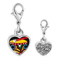 Link Charm Bracelet - 925  sterling silver native american drum photo heart frame link charm Image.