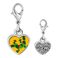 Link Charm Bracelet - 925  sterling silver creative native american lizard photo heart frame link charm Image.