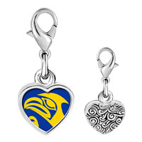 Link Charm Bracelet - 925  sterling silver eagle face photo heart frame link charm Image.