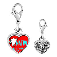 Link Charm Bracelet - 925  sterling silver native american bull photo heart frame link charm Image.