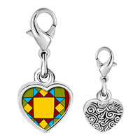 Link Charm Bracelet - 925  sterling silver quiltwork patch photo heart frame link charm Image.