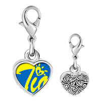 Link Charm Bracelet - 925  sterling silver cursive heart tio photo heart frame link charm Image.