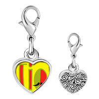 Link Charm Bracelet - 925  sterling silver multicolored tio and mustache photo heart frame link charm Image.