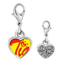 Link Charm Bracelet - 925  sterling silver cursive heart tia photo heart frame link charm Image.