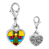Link Charm Bracelet - 925  sterling silver colorful bird sculpture photo heart frame link charm Image.