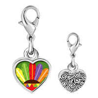 Link Charm Bracelet - 925  sterling silver colorful feathers photo heart frame link charm Image.
