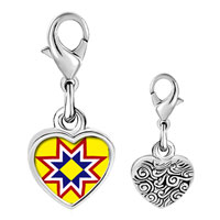 Link Charm Bracelet - 925  sterling silver multicolored star photo heart frame link charm Image.