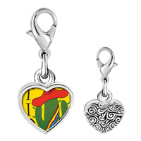 Link Charm Bracelet - 925  sterling silver tio cactus with hat photo heart frame link charm Image.