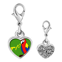 Link Charm Bracelet - 925  sterling silver tio speaking parrot photo heart frame link charm Image.