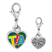 Link Charm Bracelet - 925  sterling silver tia with chili pepper photo heart frame link charm Image.