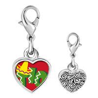 Link Charm Bracelet - 925  sterling silver tio cactus desert photo heart frame link charm Image.