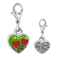 Link Charm Bracelet - 925  sterling silver padre colorful boots photo heart frame link charm Image.