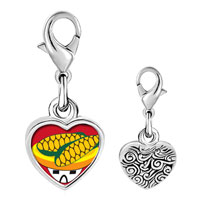 Link Charm Bracelet - 925  sterling silver mexican corn photo heart frame link charm Image.