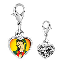 Link Charm Bracelet - 925  sterling silver our lady of guadalupe photo heart frame link charm Image.