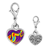 Link Charm Bracelet - 925  sterling silver multicolored mexico photo heart frame link charm Image.