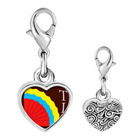 Link Charm Bracelet - 925  sterling silver multicolored tia and fan photo heart frame link charm Image.
