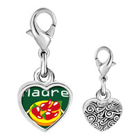 Link Charm Bracelet - 925  sterling silver madre chili peppers photo heart frame link charm Image.