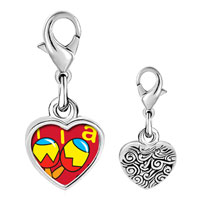 Link Charm Bracelet - 925  sterling silver tia music instrument photo heart frame link charm Image.