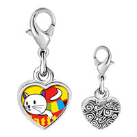 Link Charm Bracelet - 925  sterling silver small cat kitten gatito photo heart frame link charm Image.