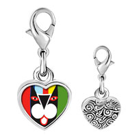 Link Charm Bracelet - 925  sterling silver colorful artistic cat photo heart frame link charm Image.
