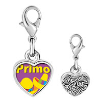 Link Charm Bracelet - 925  sterling silver primo mexican hats photo heart frame link charm Image.