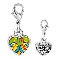 Link Charm Bracelet - 925  sterling silver colorful music prima cousin photo heart frame link charm Image.