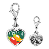 Link Charm Bracelet - 925  sterling silver hot chile prima cousin photo heart frame link charm Image.