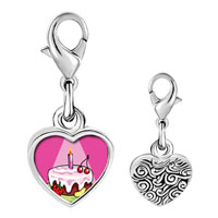 Link Charm Bracelet - 925  sterling silver birthday cake in spotlight photo heart frame link charm Image.