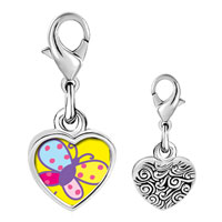 Link Charm Bracelet - 925  sterling silver colorful bright butterfly photo heart frame link charm Image.