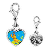 Link Charm Bracelet - 925  sterling silver singing chirping bird photo heart frame link charm Image.