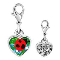 Link Charm Bracelet - 925  sterling silver curious ladybug photo heart frame link charm Image.