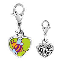 Link Charm Bracelet - 925  sterling silver bumblebee photo heart frame link charm Image.