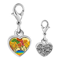 Link Charm Bracelet - 925  sterling silver golden fall autumn photo heart frame link charm Image.