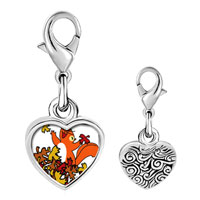 Link Charm Bracelet - 925  sterling silver fall squirrel fun photo heart frame link charm Image.