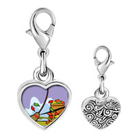 Link Charm Bracelet - 925  sterling silver fall autumn yardwork photo heart frame link charm Image.