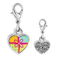 Link Charm Bracelet - 925  sterling silver multicolored gift wrapped present photo heart frame link charm Image.