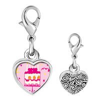 Link Charm Bracelet - 925  sterling silver pink heart birthday cake photo heart frame link charm Image.