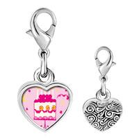 Link Charm Bracelet - 925  sterling silver pink heart birthday cake photo heart frame link charm Image.