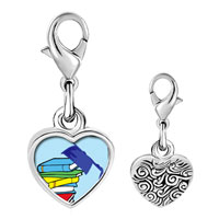 Link Charm Bracelet - 925  sterling silver graduation books photo heart frame link charm Image.
