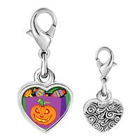 Link Charm Bracelet - 925  sterling silver jack o lantern halloween pumpkin candy bag photo heart frame link charm Image.