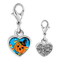 Link Charm Bracelet - 925  sterling silver jack o lantern halloween pumpkin candy corn photo heart frame link charm Image.