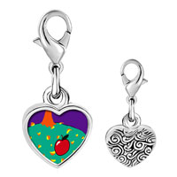 Link Charm Bracelet - 925  sterling silver autumn fall apple photo heart frame link charm Image.