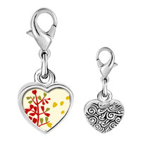 Link Charm Bracelet - 925  sterling silver autumn fall tree photo heart frame link charm Image.